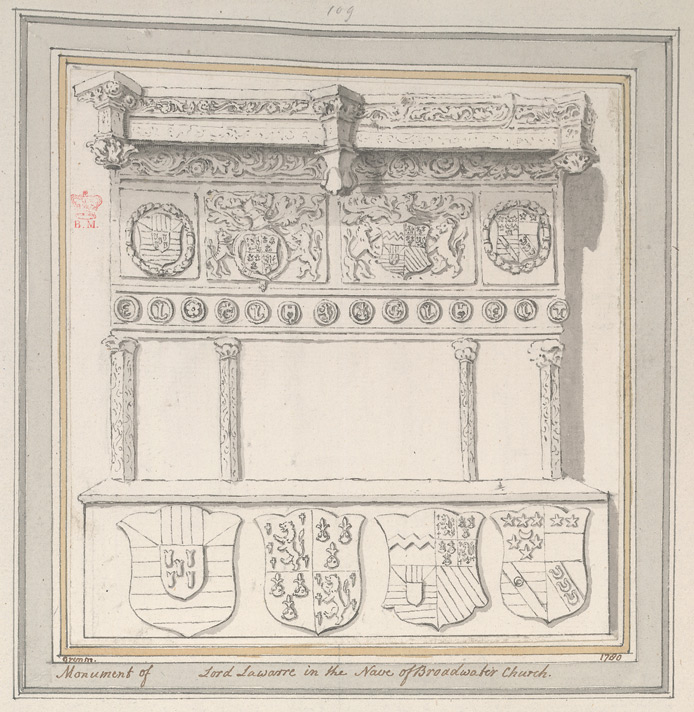 Broadwater Church, drawing of a monument to Thomas West, 8th Baron Lord Lawarre